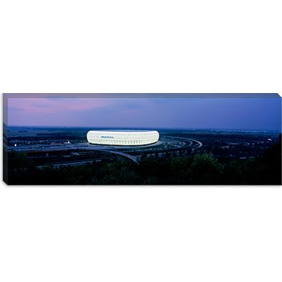 iCanvasArt Soccer Stadium Lit up at Night, Allianz Arena, Munich, Bavaria, Germany Canvas Wall ...