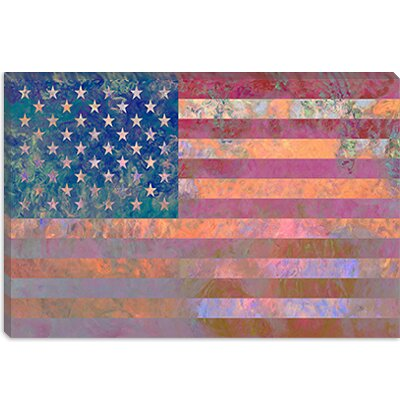 iCanvasArt U.S.A. Flag, Grunge Pink Canvas Wall Art