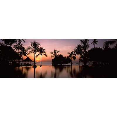 iCanvasArt Sunset over Hotel Pool, Lombok, West Nusa Tenggara, Indonesia Canvas Wall Art