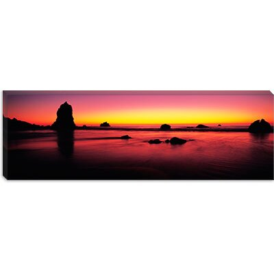 iCanvasArt Sunset over Rocks in the Ocean, Big Sur, California Canvas Wall Art