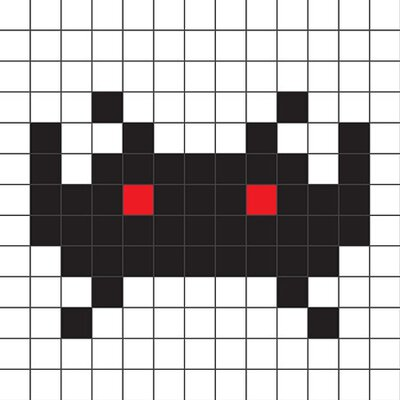 iCanvasArt Space Invader - Black Tile Art Canvas Wall Art