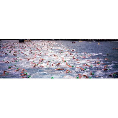iCanvasArt Triathlon Athletes Swimming in Water in a Race, Ironman, Kailua Kona, Hawaii Canvas ...