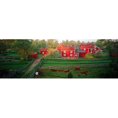 iCanvasArt Traditional Red Farm Houses and Barns at Village, Stensjoby, Smaland, Sweden Canvas ...