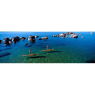 iCanvasArt Two Women Paddle Boarding in a Lake, Lake Tahoe, California Canvas Wall Art