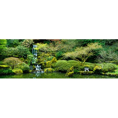 iCanvasArt Panoramic Waterfall in a Garden, Japanese Garden, Washington Park, Portland, Oregon Photographic Print on Canvas