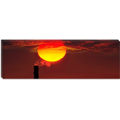 iCanvasArt Smoke Stack in Sunset Canvas Wall Art