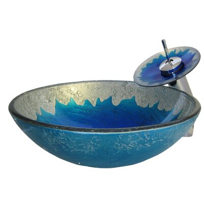 Hand Painted Sinks : Novatto Diaccio Hand Painted Glass Vessel Sink - NSFC-017001BN / NSFC ...