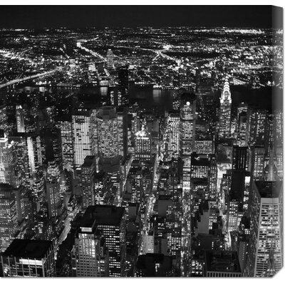 Bentley Global Arts 'Night aerial view of midtown Manhattan' by Cameron Davidson Stretched Canvas Art