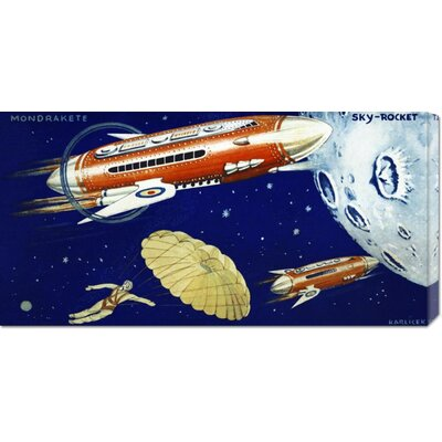 Global Gallery 'Mondrakete  Sky-Rocket' by Retrorocket Stretched Canvas Art