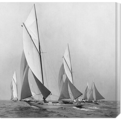 Global Gallery 'Sailboats Sailing Downwind, 1920' by Edwin Levick Stretched Canvas Art
