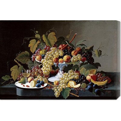 Bentley Global Arts 'Still Life With a Milk Glass Compote' by Severin Roesen Stretched Canvas Art