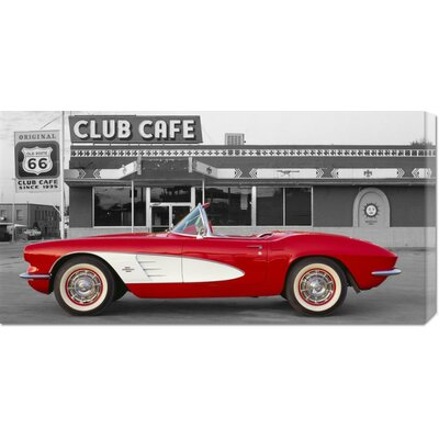 Global Gallery Unknown '1961 Chevrolet Corvette at Club Cafe on Route 66' Stretched Canvas Art ...