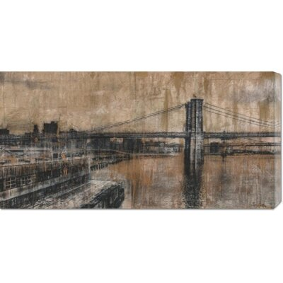 Global Gallery 'Brooklyn Bridge 1' by Dario Moschetta Stretched Canvas Art