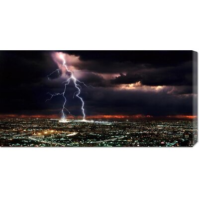 Global Gallery 'Lightning over the City' by Rob Matheson Stretched Canvas Art