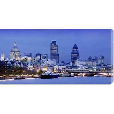 Unknown 'River Thames and London Cityscape at Dusk' Stretched Canvas Art