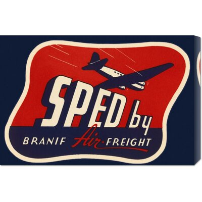 Global Gallery 'Sped by Branif Air Freight' by Retro Travel Stretched Canvas Art