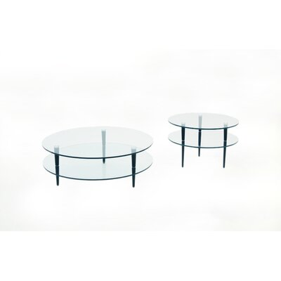 Focus One Home Saturn Coffee Table Set with Wooden Legs