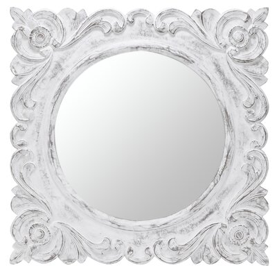Margate Mirror in Distressed Aged White