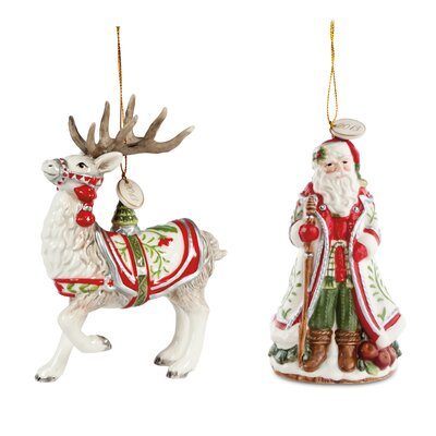 2 Piece Winter White Holiday Ornament