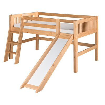 Camaflexi Low Loft Bed with Slide and Mission Headboard