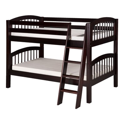 Low Bunk Bed with Angle Ladder and Arch Spindle Headboard