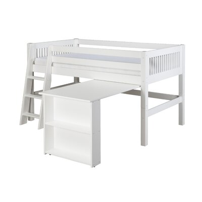 Camaflexi Twin Low Loft Bed with Retractable Desk