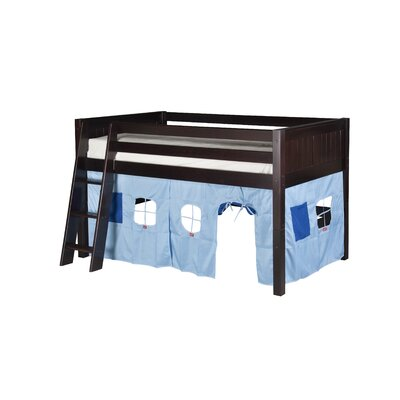 Camaflexi Twin Low Loft Playhouse Bed with Panel Headboard