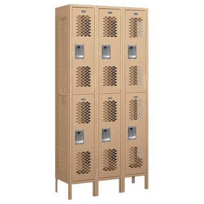 Salsbury Industries Unassembled Double Tier 3 Wide Vented Locker