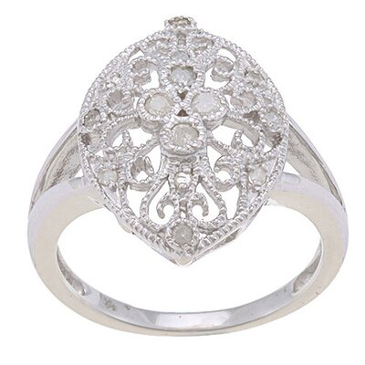 Sterling Silver Milgrain Diamond Ring