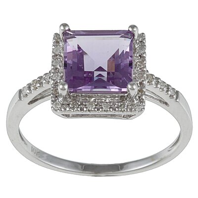 White Gold Princess Cut Gemstone and Diamond Ring