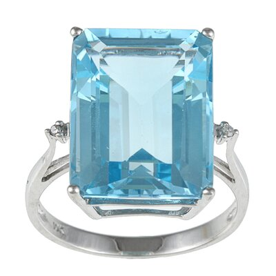 Designer Diamonds White Gold Emerald Cut Gemstone and Diamond Ring