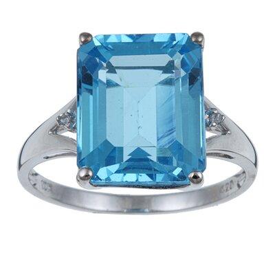 White Gold Emerald Cut Gemstone and Diamond Ring