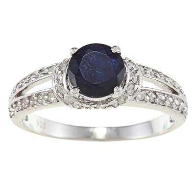 Sterling Silver Genuine Round Cut Sapphire and Pave Set Diamond Ring