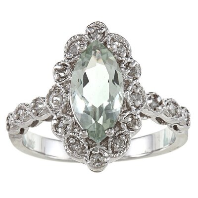 Sterling Silver Marquise Cut Gemstone and Diamond Ring