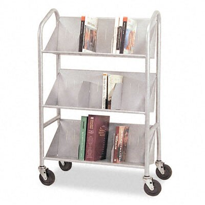 Buddy Products Sloped-Shelf Book Cart, Three Shelves, 26 x 16 x 41-1/2, Gray