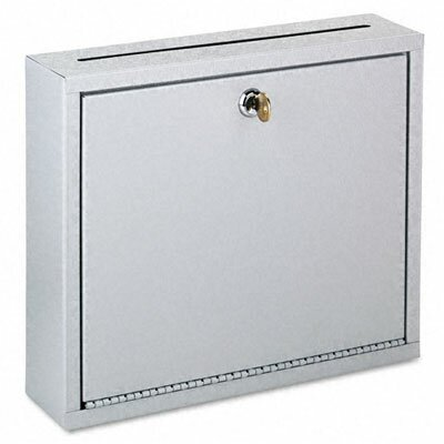 Buddy Products Wall-Mountable Interoffice Mail Collection Box, 12w x 3d x 10h, Platinum
