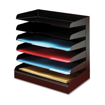 Buddy Products Desktop Organizer, 6 Tier, Legal, Horizontal, Black