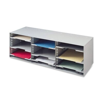 "Buddy Products 12 Compartment Organizer, 32-1/2""x11-1/2""x10-1/4"", Platinum"