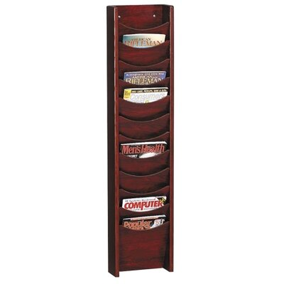 "Buddy Products Display Rack, 12 Pockets, 11""x3-3/4""x48"", Mahogany"