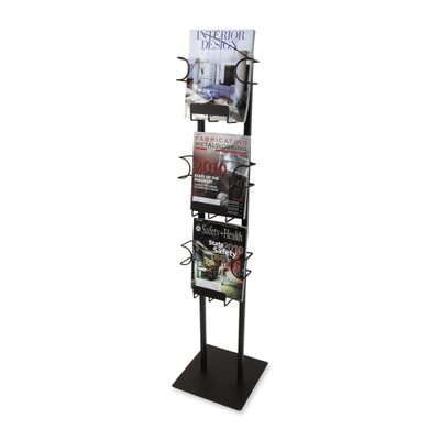 Buddy Products Magazine Displayer, 3 Pockets, 12&quot;x12&quot;x48&quot;, Black