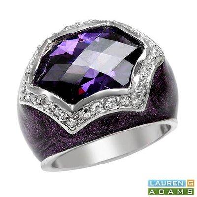 Vivid Gemz Lauren G. Adams 925 Sterling Silver Checkerboard Cubic Zirconia Ring