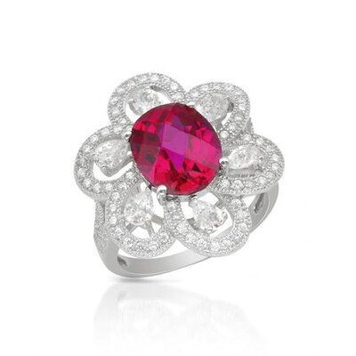 925 Sterling Silver Checkerboard Cut Ruby Ring