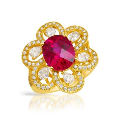 18K/925 Gold Plated Silver Checkerboard Cut Ruby Ring