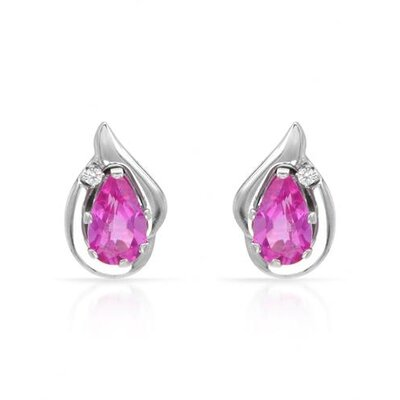 Pear Cut Rubies Stud Earring
