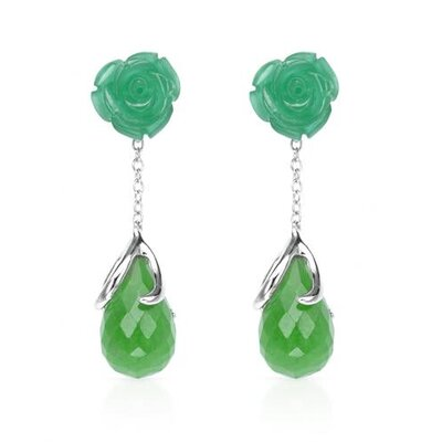 P And P Silver Pear Cut Jade Drop Earring