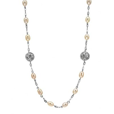 925 Sterling Silver Beaded Cultured Pearl Necklace