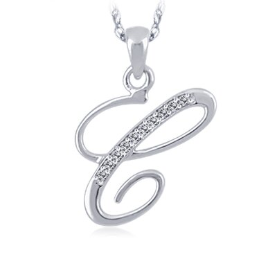 White Gold Initial Diamond Pendant