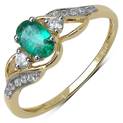 10K Yellow Gold Oval Cut Zambian Emerald Ring
