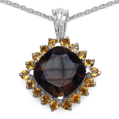 JewelzDirect Sterling Silver Cushion Cut Gemstone Pendant