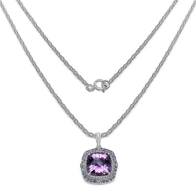 JewelzDirect 925 Sterling Silver Cushion Cut Amethyst Pendant